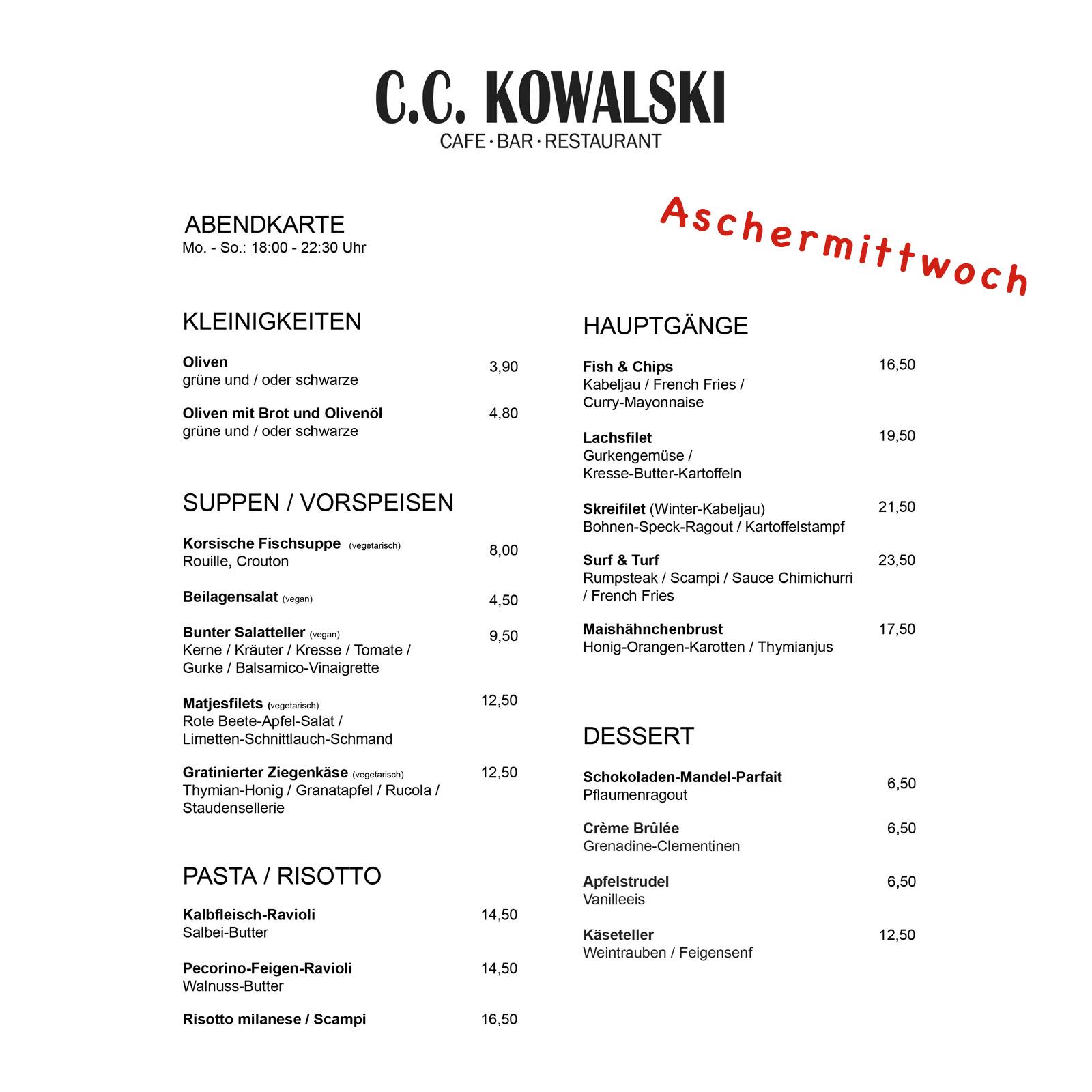 Aschermittwoch 2019 Abendkarte C.C. Kowalski