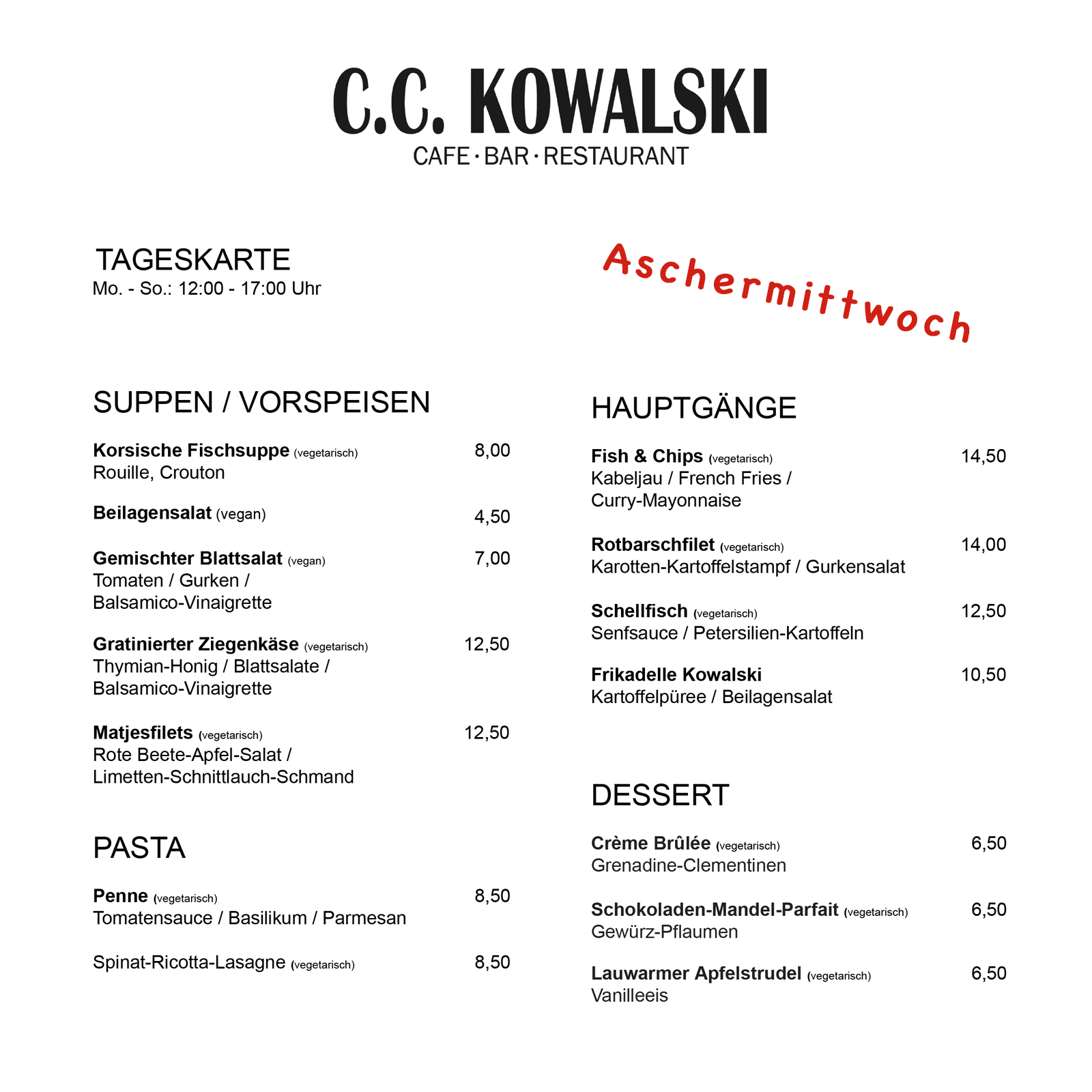 Aschermittwoch 2019 Tageskarte C.C. Kowalski